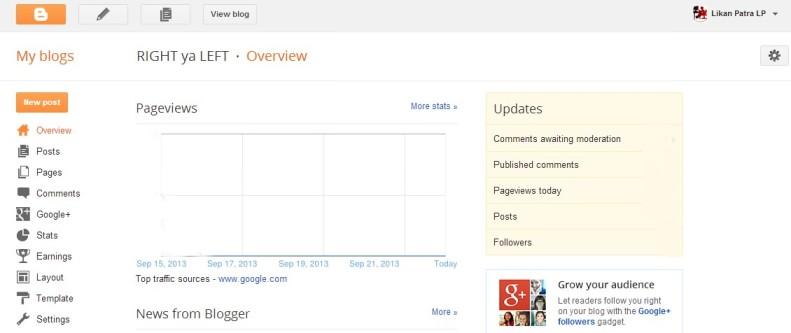 Dashboard - Blogger